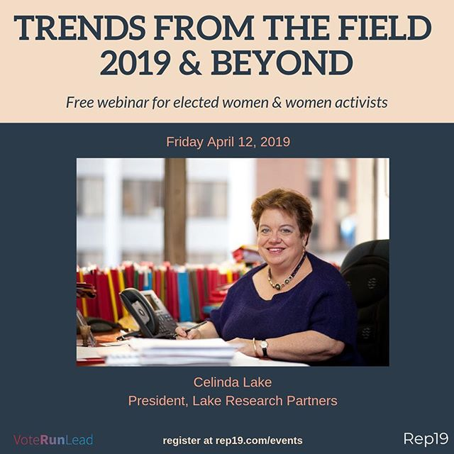 Next up in our webinar series is the talented pollster and political expert Celinda Lake. There's still plenty of time to register. She'll be sharing her perspective on the current and future political environment on April 12 at noon. Register here: Rep19.com/events (link in bio) #pollster #politics #womeninpolitics #rep19 #voterunlead #womenlead #2019 #2020election #elections #womeningovernment