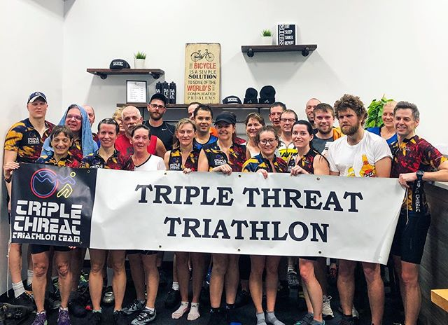 Weekend Warriors 💪🏼 . . Triple Threat Triathlon Team putting in serious work on a Friday Night with @scottykemp10 . 156 days  and counting until race day 👊🏼 . . Looking for a memorable team building experience? Birthday party!? Fundraiser? DM or email us about booking a private ride!