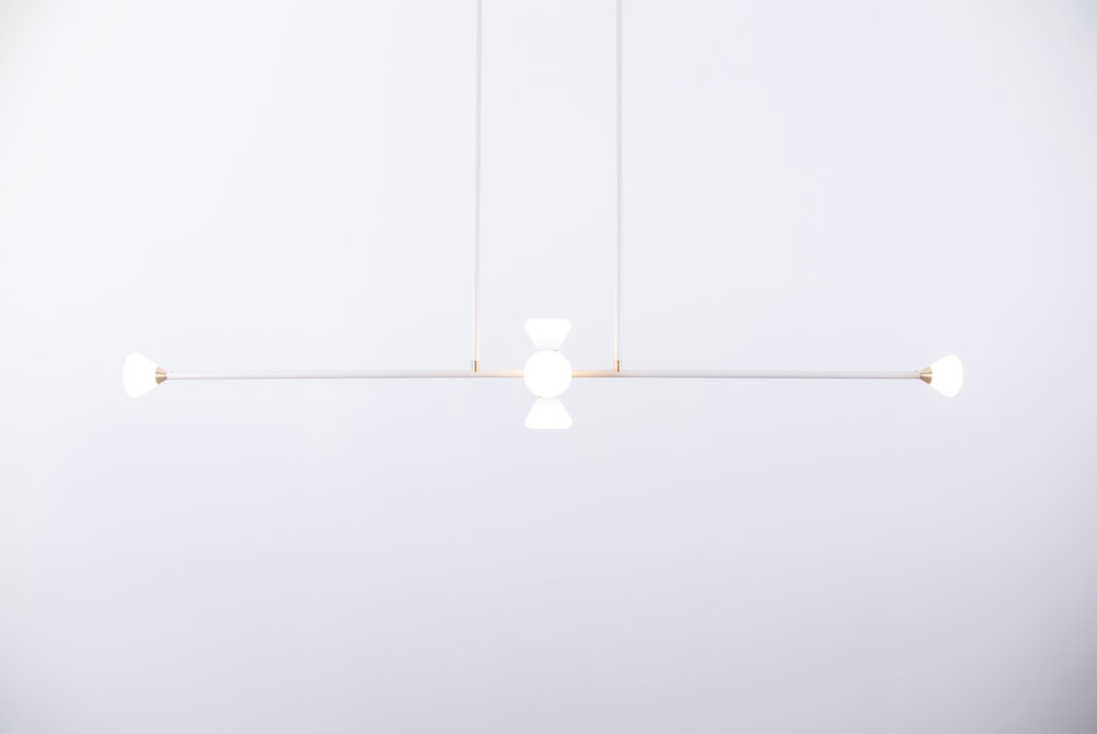 Apollo 6 Chandelier - Matte Ivory with Brushed Brass Details