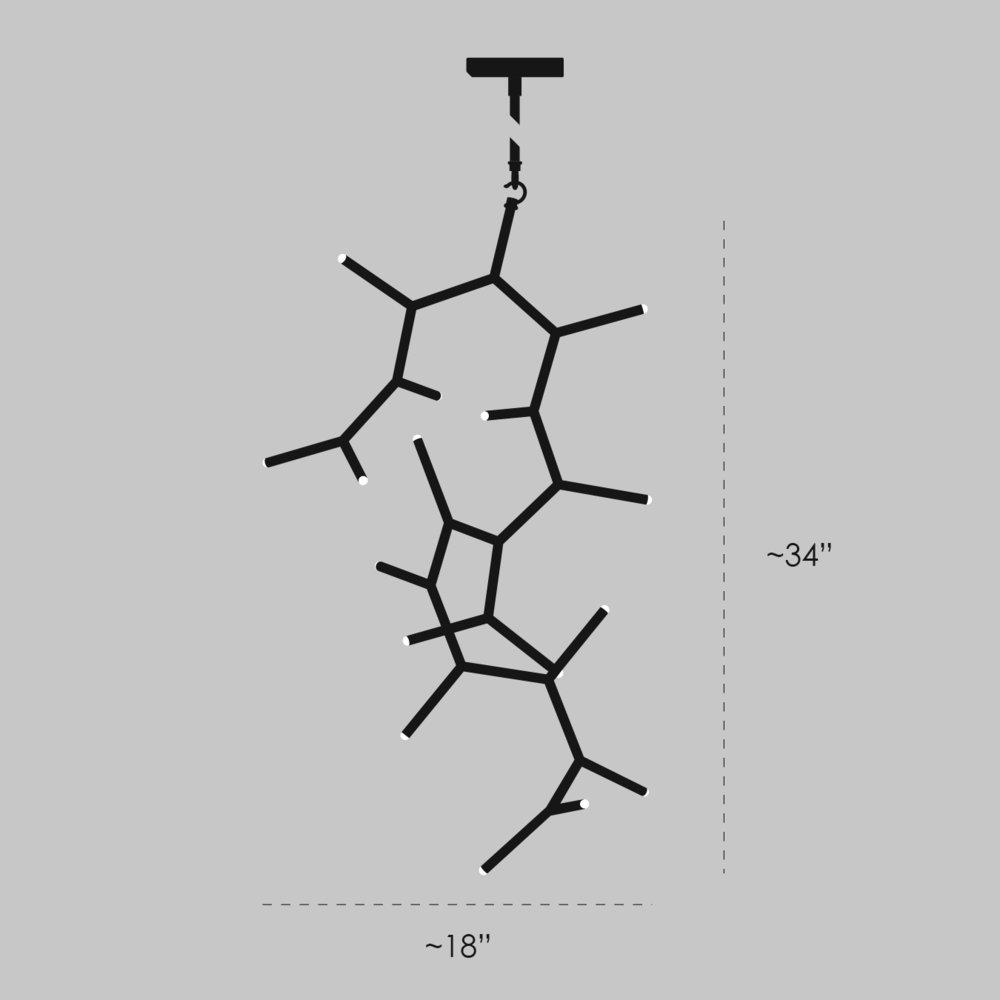 Ursa Major Chandelier - Vertical Orientation Dimensions