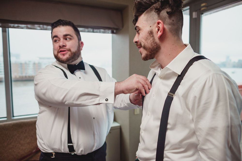 groom getting ready for wedding in jersey city