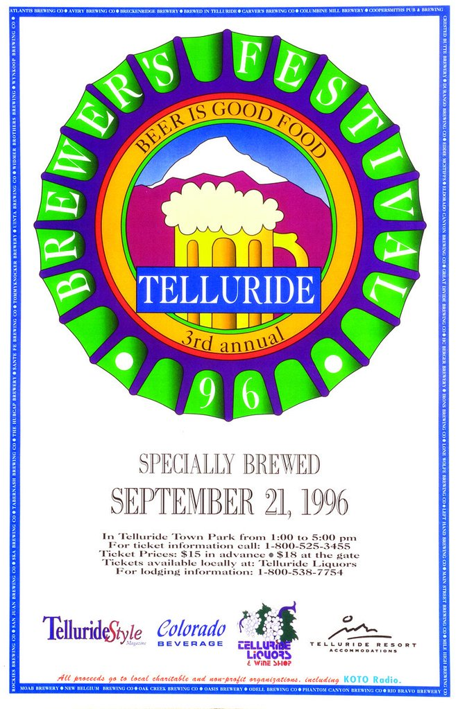 Telluride Blues & Brews Festival | 1996 Poster