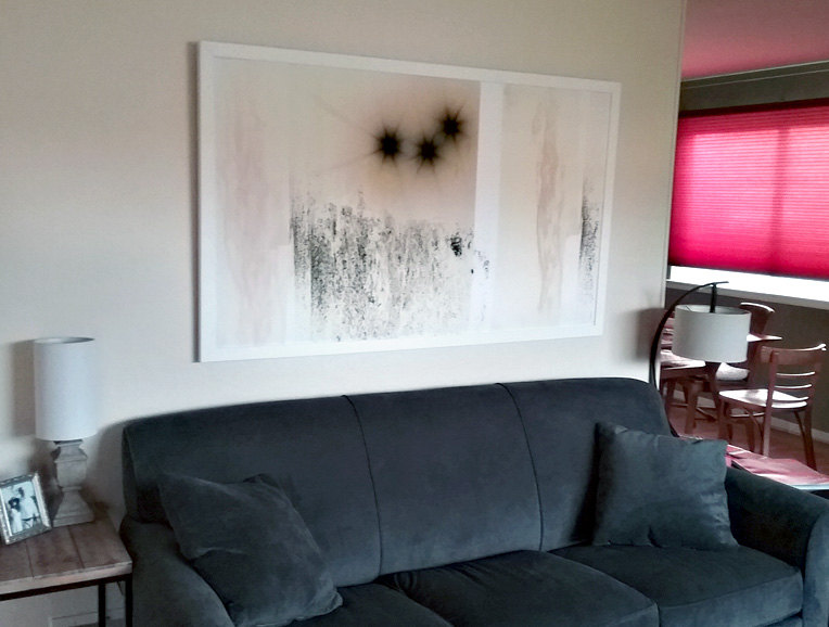 """Fields of the Sun 113"" 60"" x 36'"" installed in home."