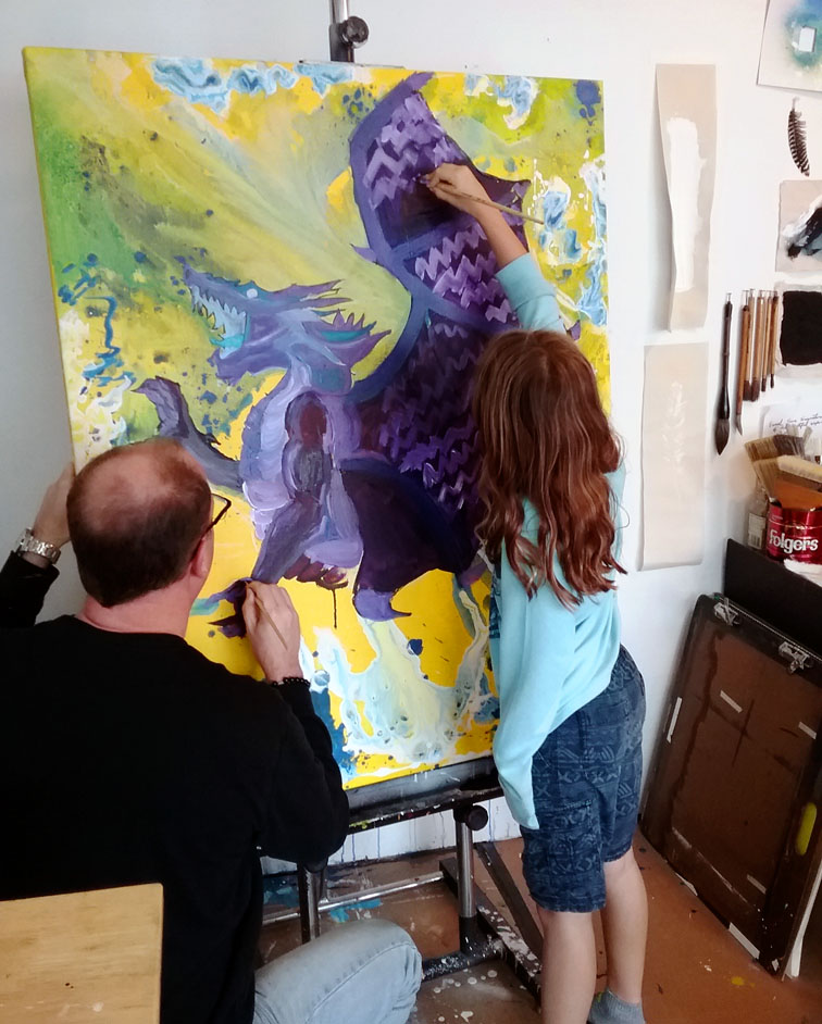 Go Big! Maddy Daddy Painting together.