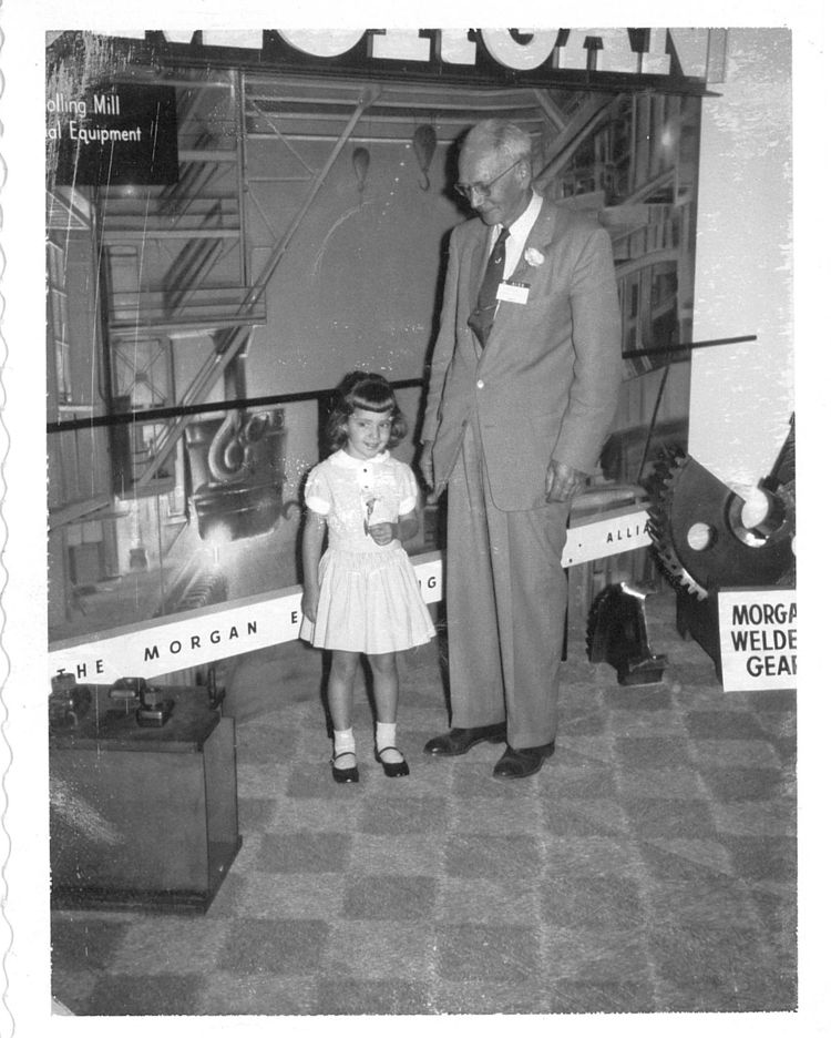 Company founder Sam Stryffeler welcomes visiting granddaughter Judy (Red Seal H/R Manager) to an Iron and Steel Show (photo circa 1960's).
