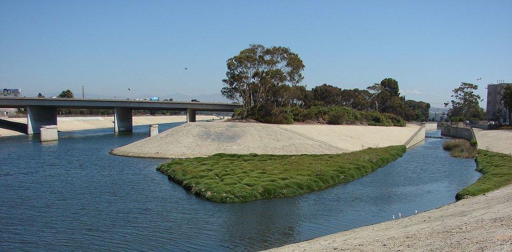 Centinela Creek joins Ballona Creek near the Ballona Estuary