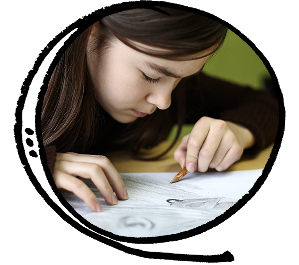 Drawing art class after school for children, kids, preteens, and teens in Toronto, East York.