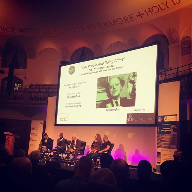 "Fascinating and humbling to attend tonight's 17th Longford lecture 'why people stop 'doing crime"" at Westminster with Jon Snow and panel of Longford scholars exploring how we can reduce prison numbers. #longford18 #longfordlecture #prisonreform #rehabilitation #jonsnow #lordlongford #prisonpopulation"