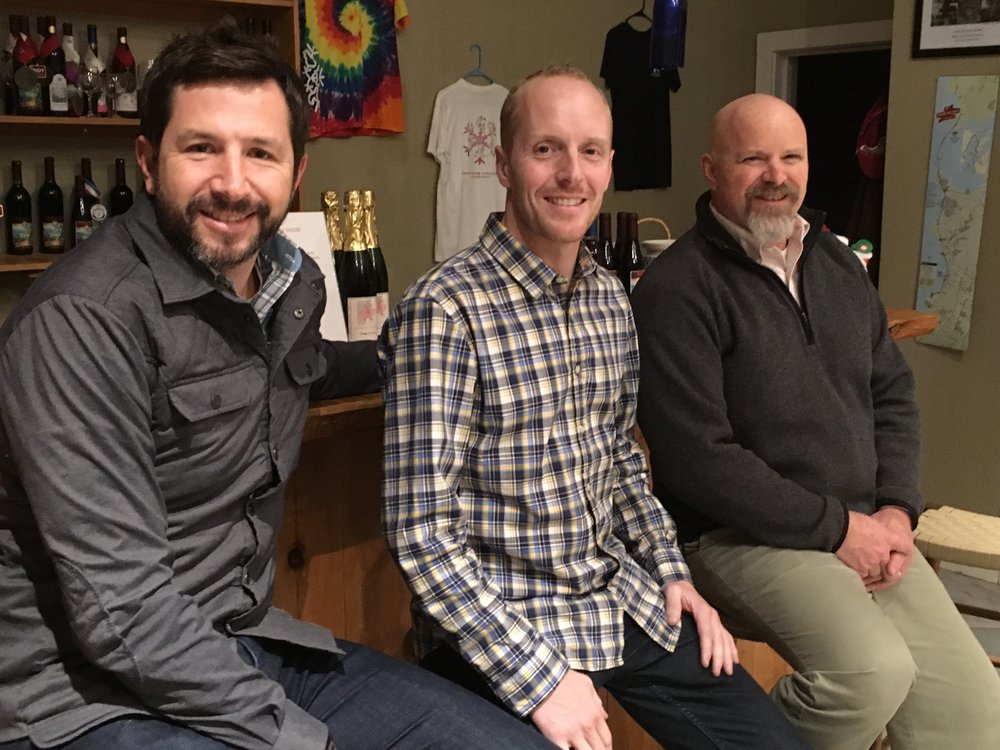 Bobby Bailey, Tyler Wren, and David Lane (left to right) met for the organizing meeting of the Foundation on December 4, 2018 at Snow Farm Winery in South Hero, Vermont.