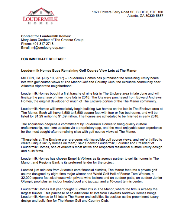 PRESS RELEASE ON LOT PURCHASE