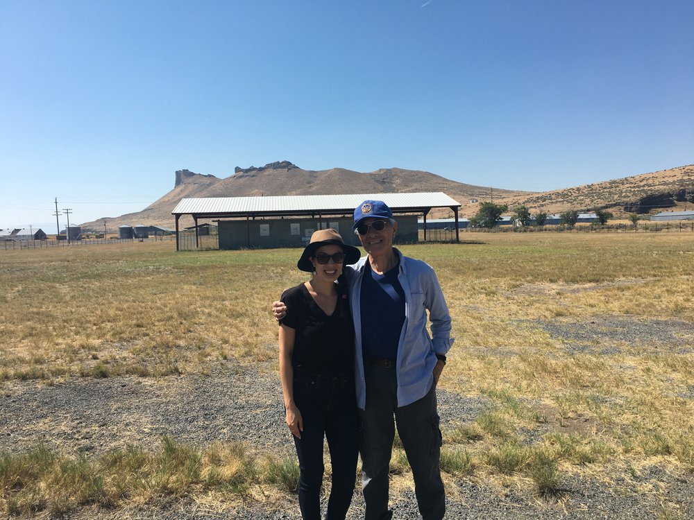 Dad and I in front of Castle Rock and the Tule Lake stockade
