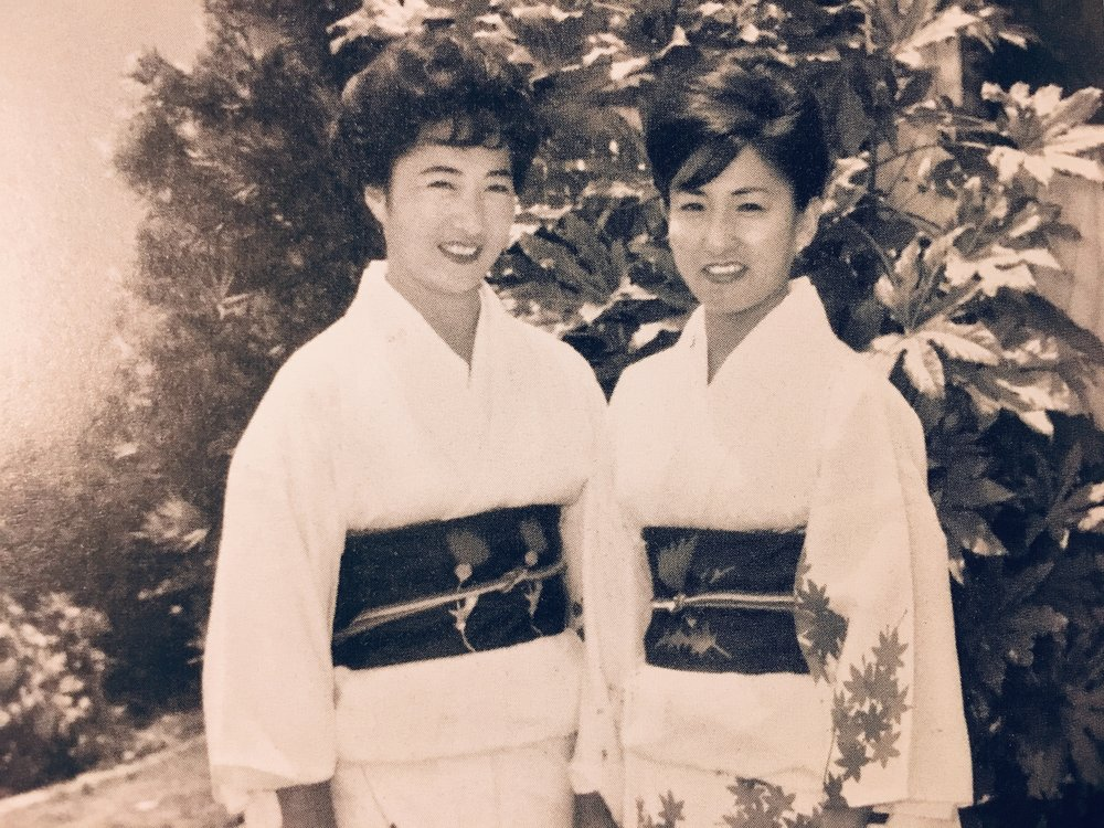Grace Toya (right) and her sister Yuki (left) dressed in kimono for Obon.