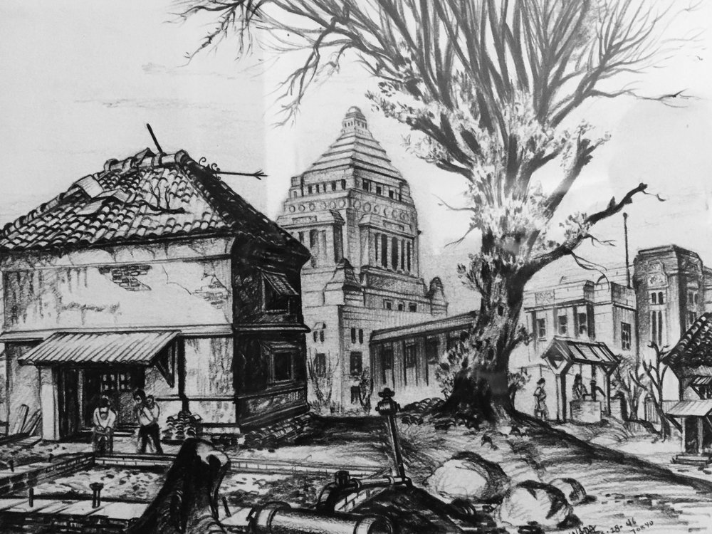 Tom Inada's sketch of Tokyo and the Diet building, from the perspective of his sister Betty's apartment.
