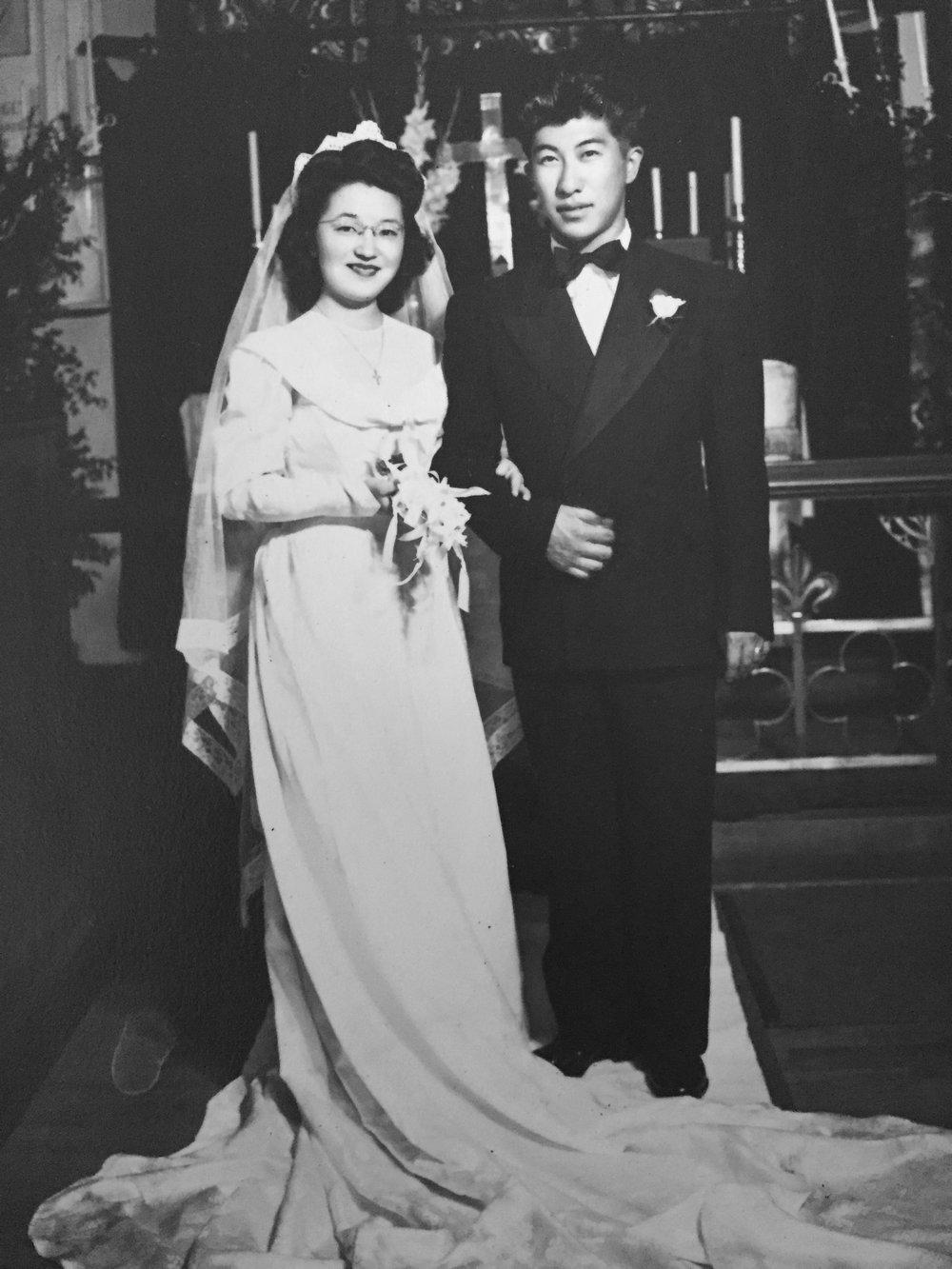 Maru and Jordan on their wedding day in Ogden, Utah