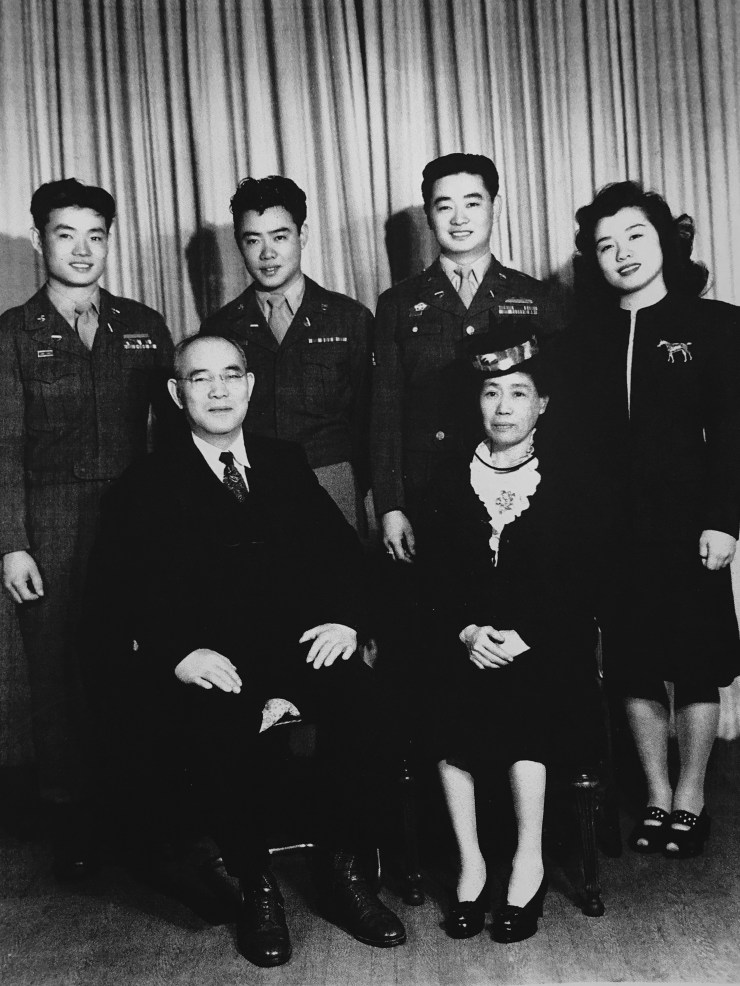 The Noguchi Family. From left to right, back row: The kids, Hank, Steve, George and Alice. Front row: The parents, Eijiro and Naka Noguchi