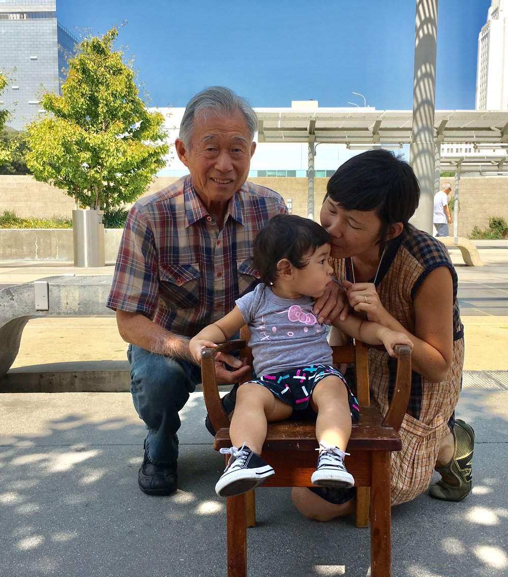 Three generations: George, his daughter Alyson Iwamoto, and her daughter, Aiko.