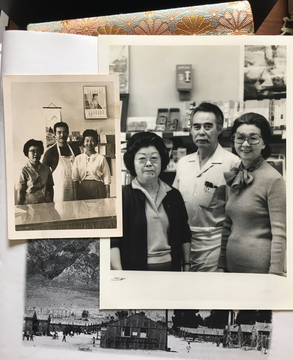 The Shi's Fish Mart family when it opened (left) and when it closed (right)