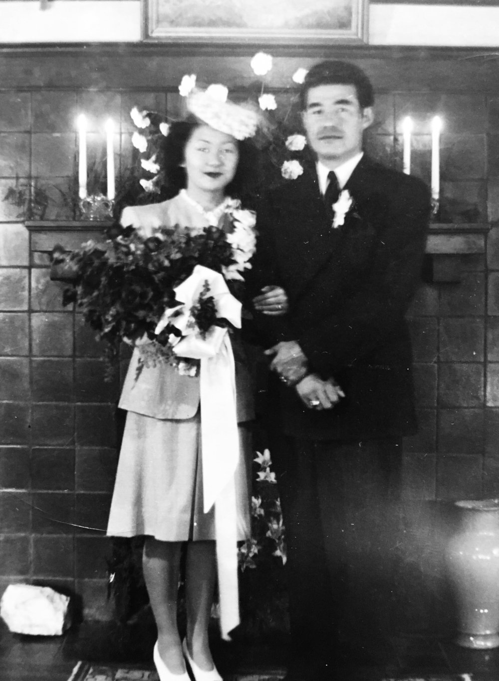 Mary and Shi on their wedding day