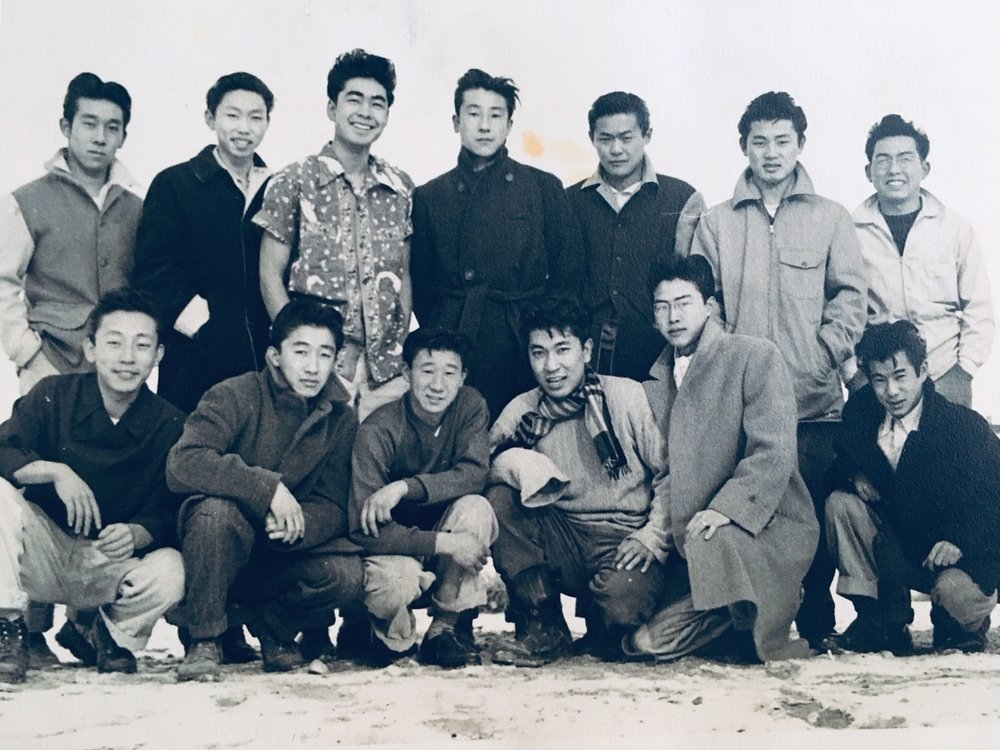 Kazuto and friends in Heart Mountain. He is standing in the second row, far right.