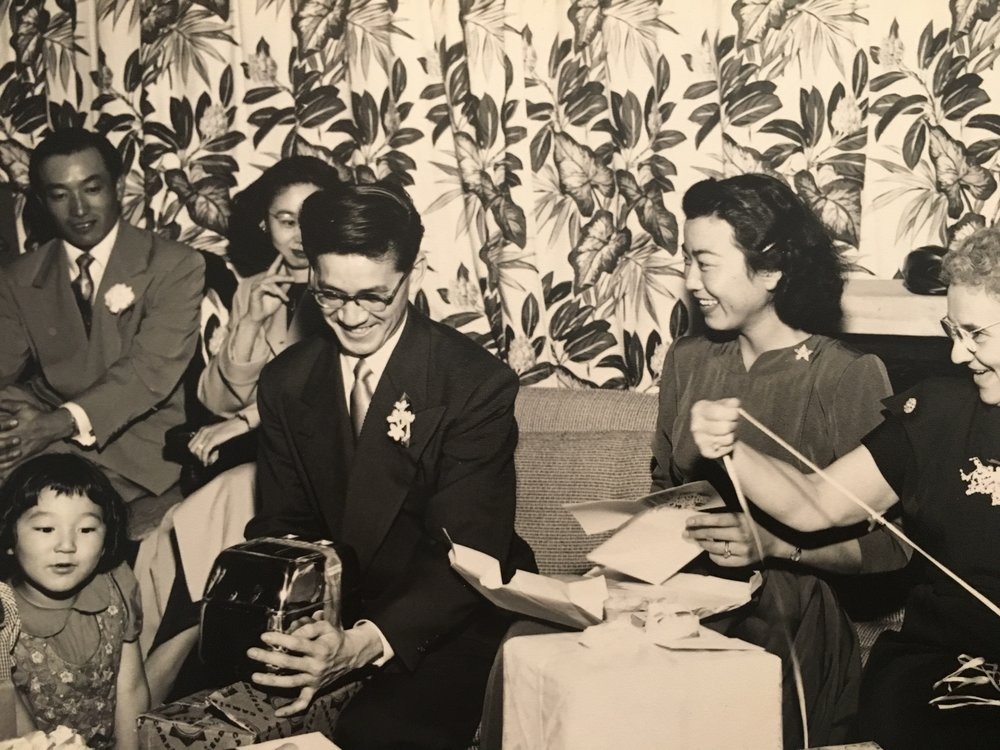 Clarence and Yuri at their engagement party. Clarence was a veteran of the 522nd Field Artillery Battalion, the Nisei unit that discovered one of the subcamps of Dachau.