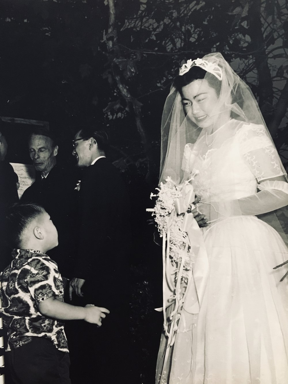 Yuri on her wedding day. Clarence Matsumura is on the left, facing away.