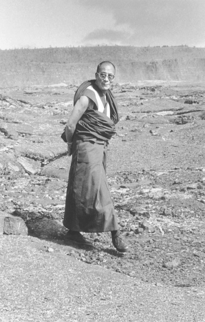 HH the Dalai Lama at Kilauea Volcano, October 1980 photo by Chiu Leong