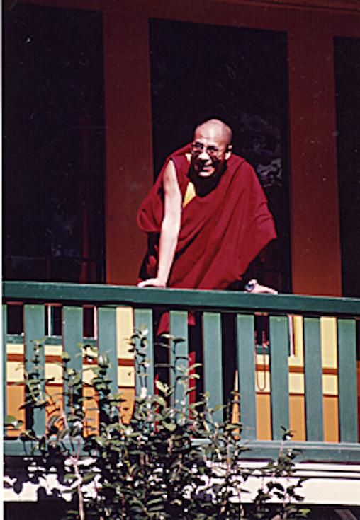 HH Dalai Lama overlooking the Temple grounds, 1980 photo by Shogen Rai