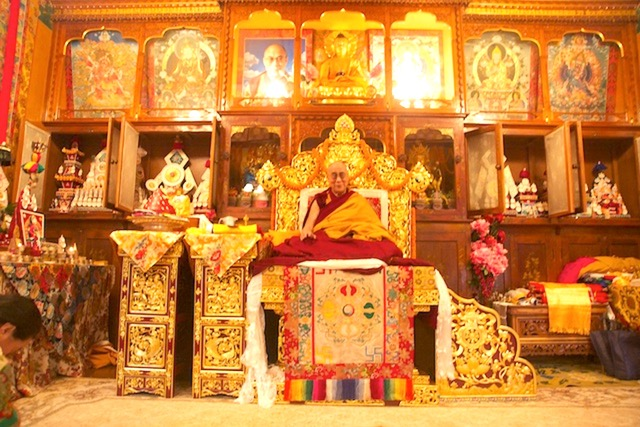 His Holiness the Dalai Lama at Nechung Monastery, in India.