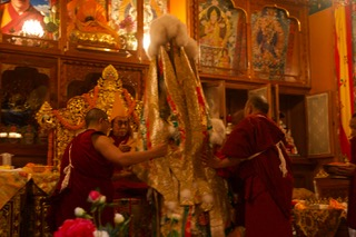 HHDL with the Nechung Oracle at Nechung Monastery