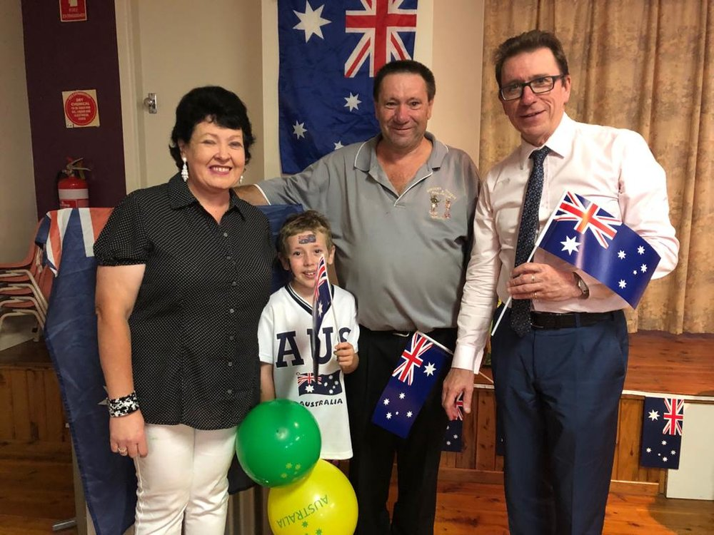 Congratulations to Mandy King, who received a community volunteer recognition award at Adelong Australia Day ceremony.   Pictured here with her son, Kyran and husband Kevin, who did a brilliant job as MC.