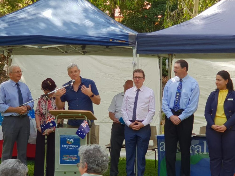 At the Australia Day ceremony in Tumut,