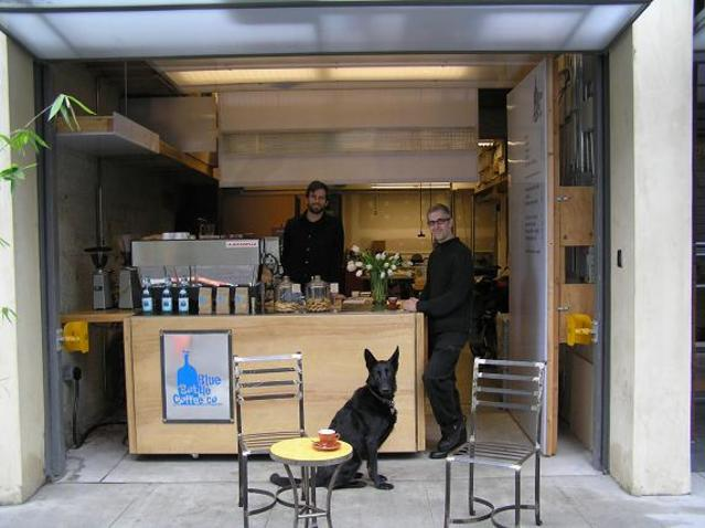 It started with sweet Ivy, James's pup and the very first #dogofbluebottle, seen here in front of our  Hayes Valley Kiosk .