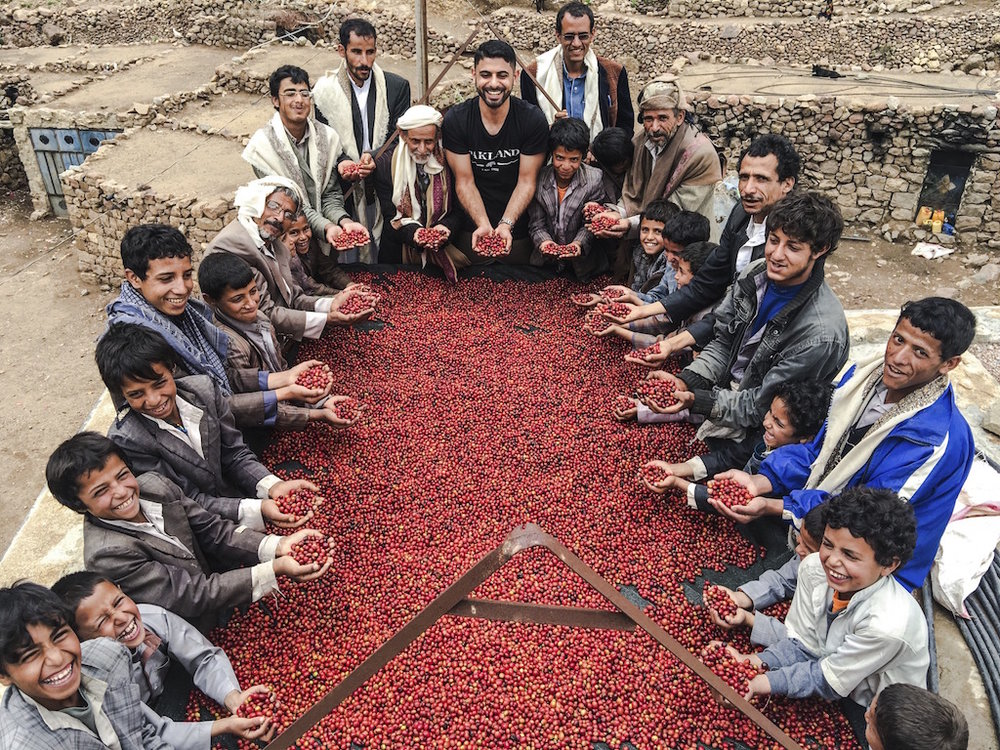 Mokhtar Alkanshali, Founder and CEO of Port of Mokha, in Yemen with a few friends
