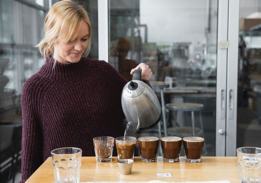 Industry standards are to taste five cupping bowls of the same coffee.