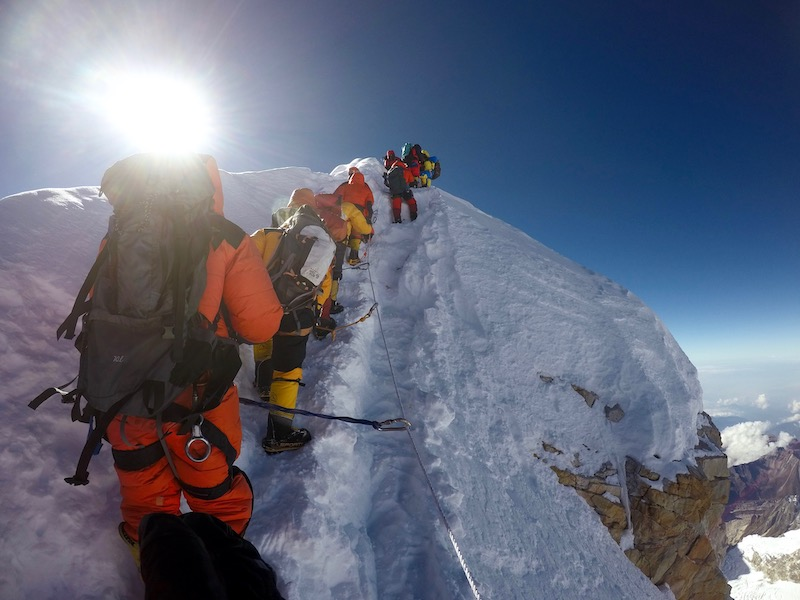 Final steps on the steep ridge to the true summit of Manaslu 8163m, training finally paying off!