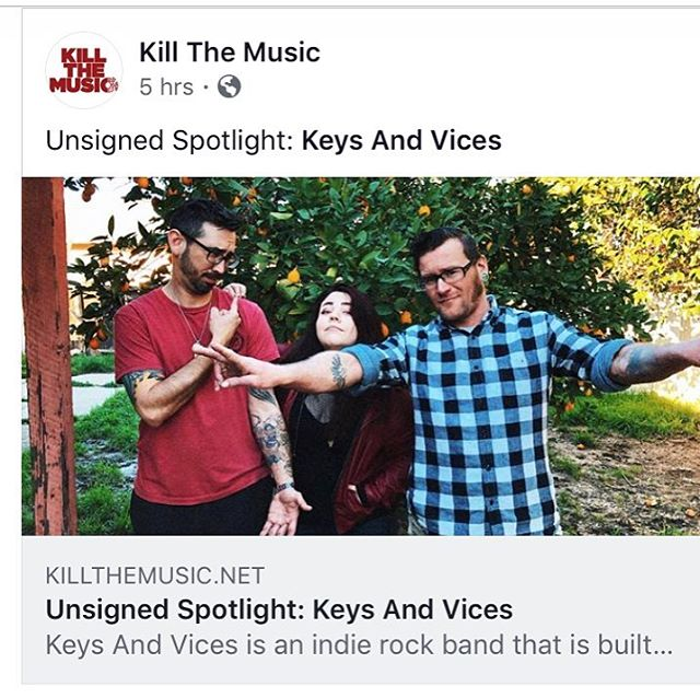 """Check out our interview about our album """"Chronic Nostalgia"""" on Kill The Music!  https://killthemusic.net/blog/unsigned-spotlight-keys-and-vices #keysandvices #chronicnostalgia #killthemusic #albumrelease #musicinterview"""