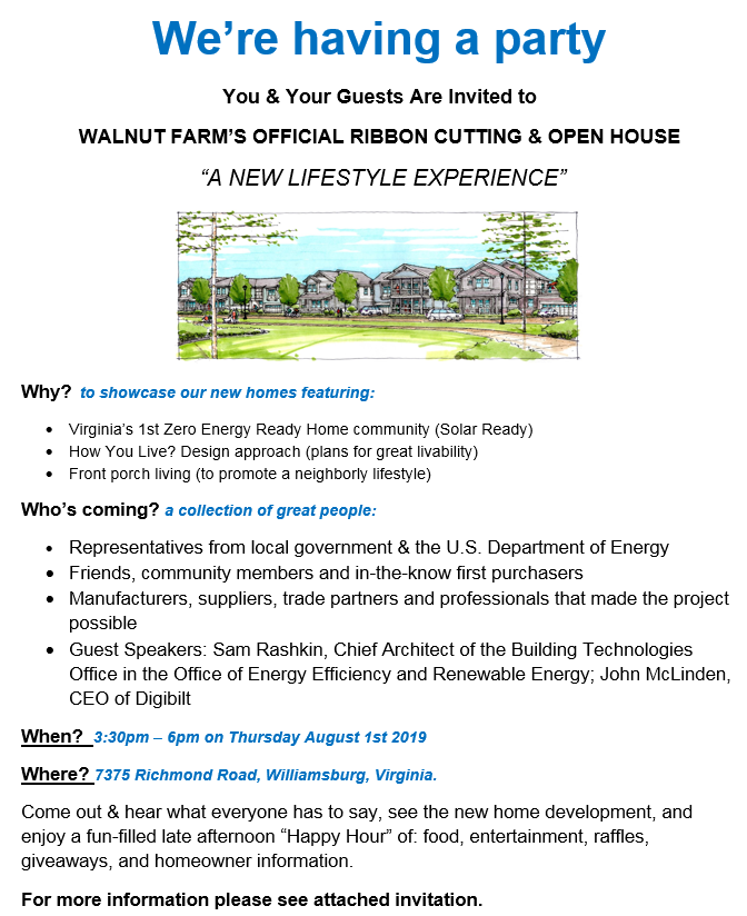 WALNUT FARM'S OFFICIAL RIBBON CUTTING & OPEN HOUSE