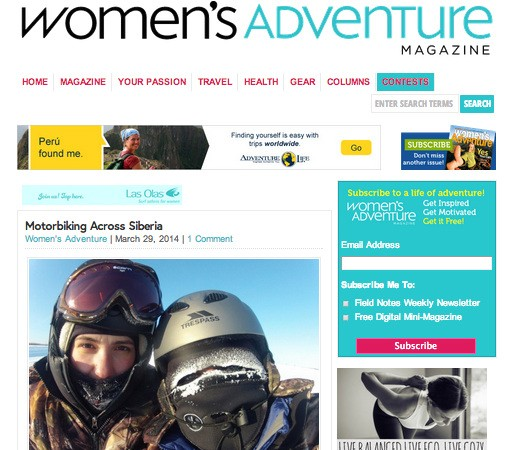 OUR SIBERIAN ADVENTURES FEATURED  WOMENS ADVENTURE MAGAZINE