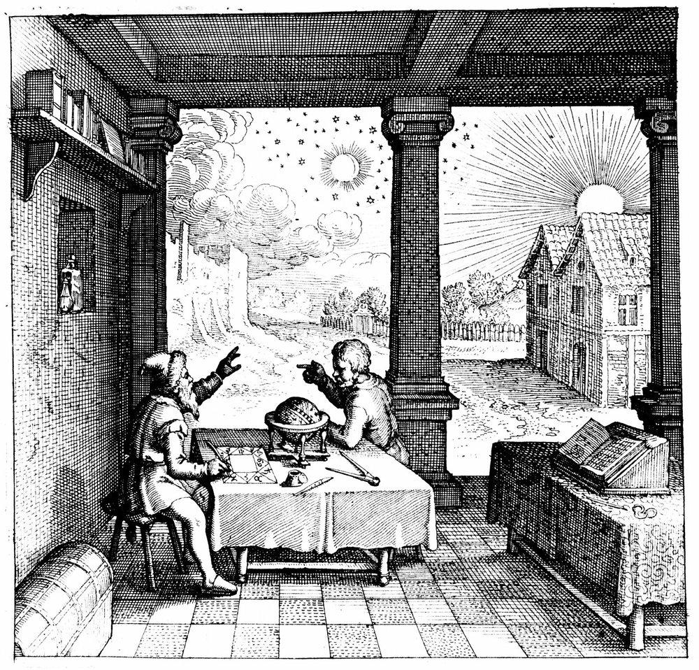 An astrologer casts a horoscope for a client - from Robert Fludd's  Utriusque Cosmi Historia  (1617)