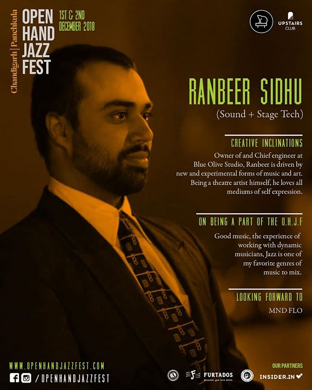 Meet the Team.  Name: Ranbeer Sidhu (Sound Engineer)  Creative inclinations:  Owner of and Chief engineer at Blue Olive Studio, Ranbeer is driven by new and experimental forms of music and art. Being a theatre artist himself, he loves all mediums of self expression.  On being a part of the Open Hand Jazz Fest: Good music, the experience of working with dynamic musicians, Jazz is one of my favorite genres of music to mix.  Looking forward to: MND FLO . . . #openhandjazzfest #internationaljazzfestival #jazzfest #jazzfestival #jazzmusic #jazznight #jazzfestindia #punjab #jazzlover #jazzmusician #chandigarhdiaries #lifestyleguide #supportyourlocal #chandigarhblogger #crazyweekends #chandigarh #panchkula #chandigarhians #mohali #jazzconcert #livemusic #livejazz #jazzfest2018