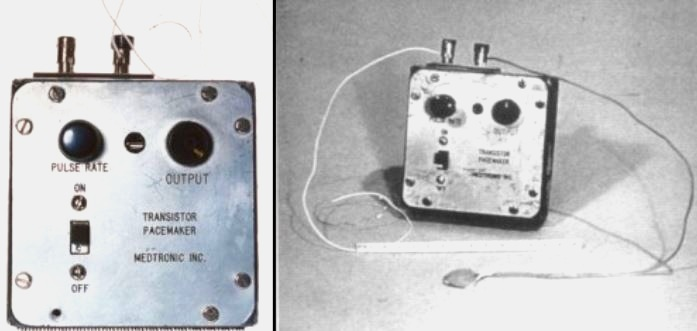 An early battery powered pacemaker.  Credit: https://www.ncbi.nlm.nih.gov/pmc/articles/PMC3232561/