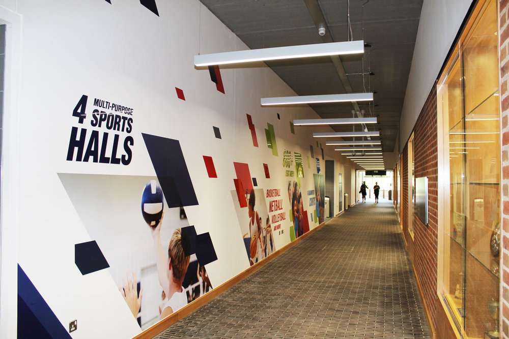 Corridor graphics for sports hall