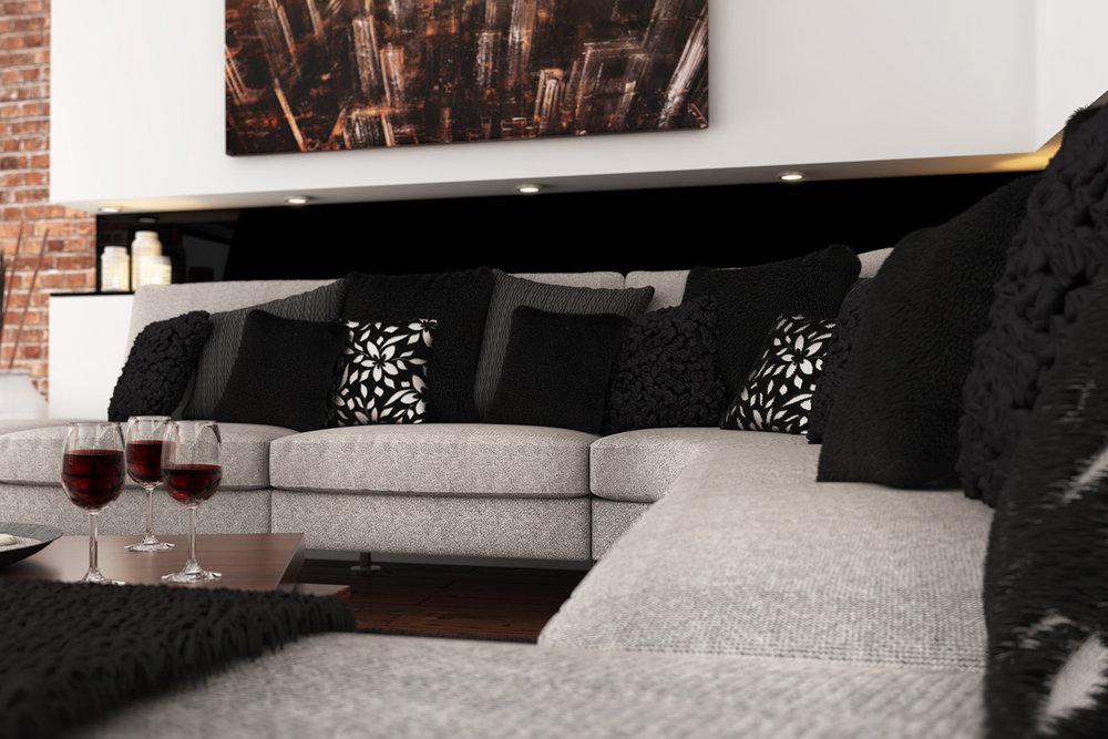 CGI visualisation Lounge with sofa, cushions and wine glasses