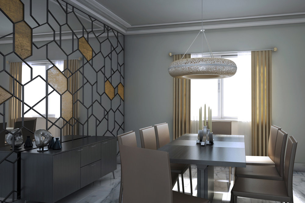 CGI Visualisation Dining room with natural light