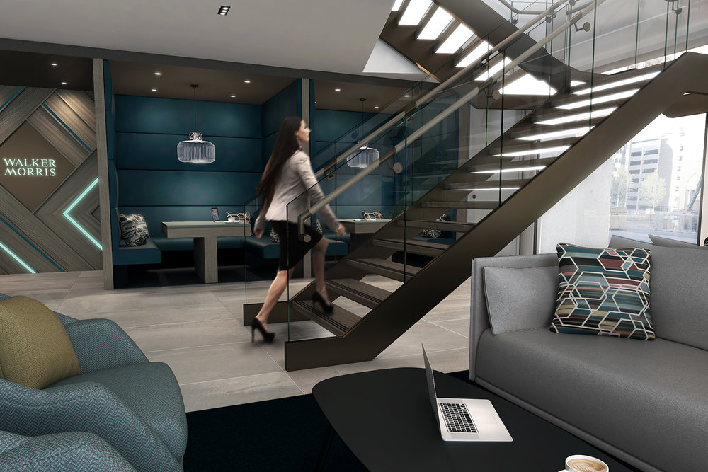 CGI visualisation office interior with staircase and breakout booth