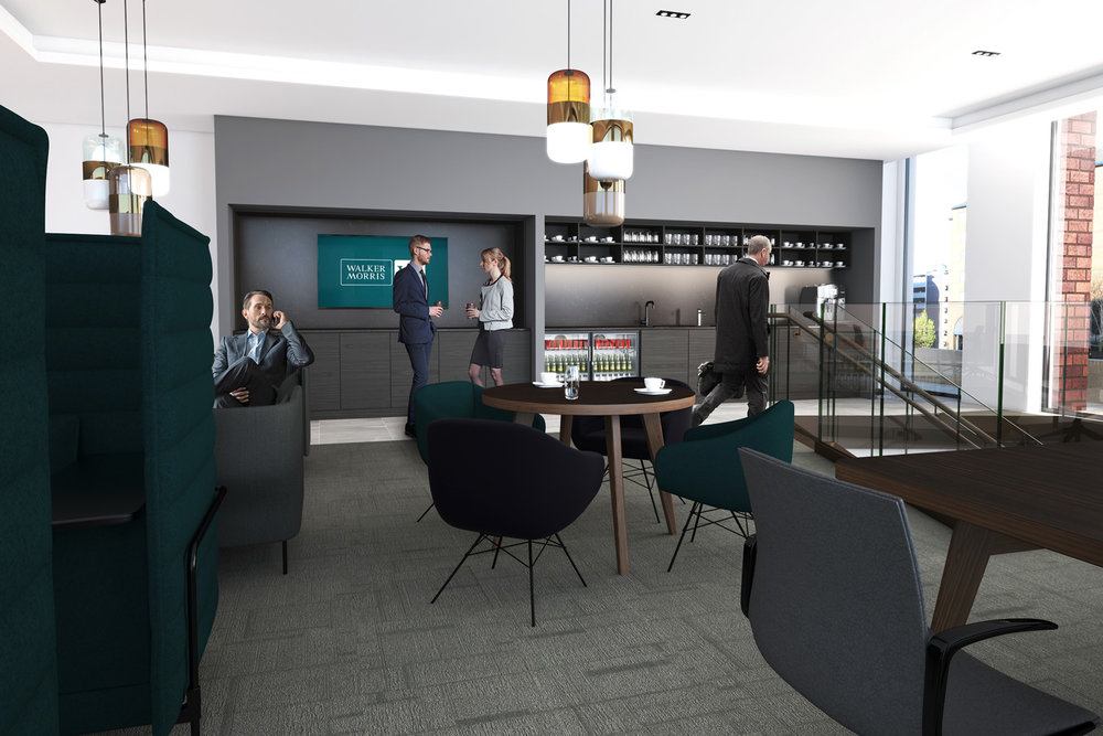 CGI visualisation Breakout area with TV, Kitchen and tables