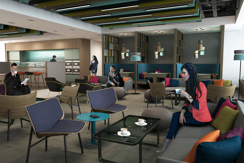 CGI visualisation Canteen with booths and sofas
