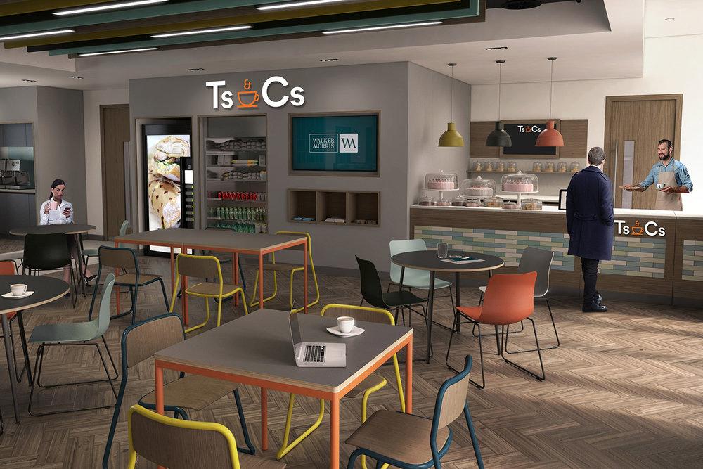 CGI visualisation Cafe servery area with blackboard, TV and vending machine