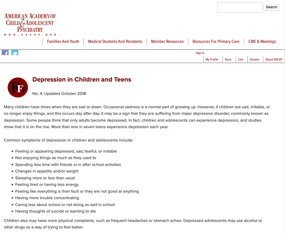 Depression In Children And Teens Aacap >> American Academy Of Child And Adolescent Psychiatry Youth