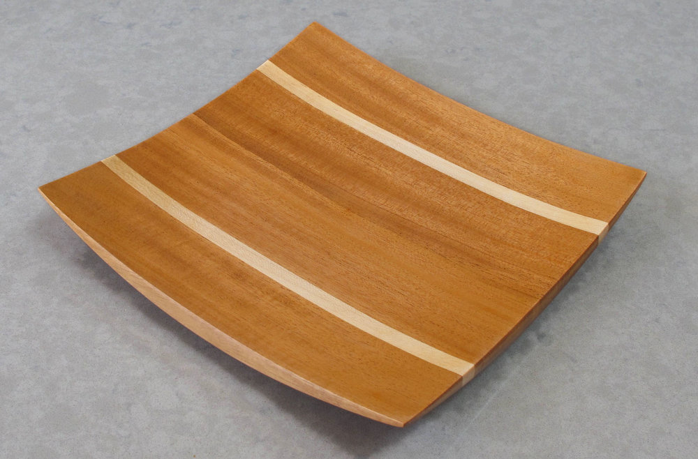 "10"" x 10"" Mahogany/Maple Wing Tip Platter $90 + Shipping"